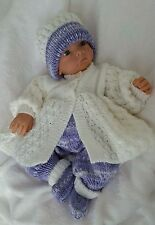 Baby Knitting Pattern DK #65 TO KNIT Baby Girls or Reborn Dolls Matinee Set