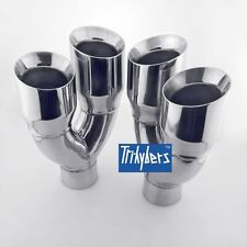 """Pair exhaust tips quad style 2.5"""" Inlet / dual 3.5"""" outlet for Corvette C3"""