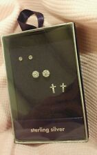 Sterling Silver Earrings small CZ Studs, Crosses, CZ Studded ball Claire's NEW