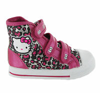 Hello Kitty Peony Hi-Top Boots Girls Kids Canvas Velcro Glitter Shoes UK8-2