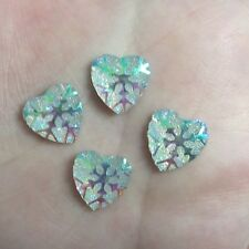 40pcs Resin AB color snowflake heart FlatBack Appliques/Christmas DIY craft-C196