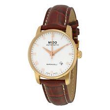 Mido Baroncelli White Dial Brown Leather Mens Watch M86002268