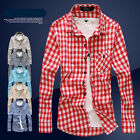 Men's Slim Fit Casual Grid Plaid Check Pattern Long Sleeve Shirt Red Blue Grey