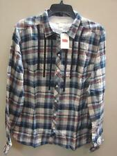 SZ  S NEW  RED TAB LADIES LEVI'S  SAN FRANCISCO PLAID LONG SLEEVE WESTERN SHIRT