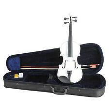 New 4/4 White Acoustic Violin & Case & Bow & Rosin for Violin Beginner Student