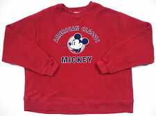 DISNEY STORE MENS XL CREWNECK WINTER FLEECE SWEATER RED BLUE MICKEY MOUSE PRINT