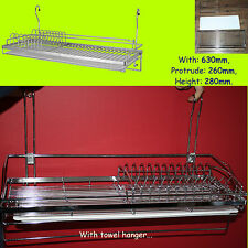 Dish Drainer Rack Chrome For Hanging Rail Cutlery Plates Cup Glass Dryer CWJ228B