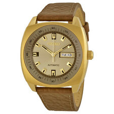 Seiko Mechanical Champagne Dial Brown Leather Mens Watch SNKN02