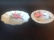 ROYAL ALBERT PRAIRIE ROSE 2 SMALL DISHES BON BON NUT MINT SWEET MEAT