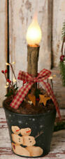 Primitive Country SNOWMAN TIN BUCKET LIGHT