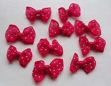 "10 x ""Red & White Spotty Ribbon Bows"" Organza Embelishment Craft Decoration"
