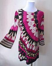 Vintage Abstract Dolman Sleeve Retro Coachella Hippy Chic BoHo Mini Shirt Dress