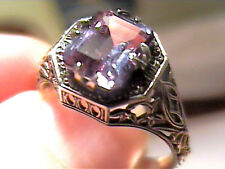 Russian Alexandrite Ring 5 SILVER  color change purple-blue filigree delicate