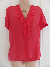 Linea size 10 red silk blouse with ruffle and short sleeves with undervest