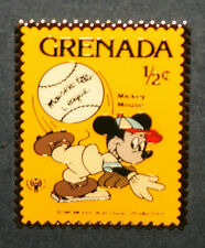 MICKEY MOUSE PIN DISNEYLAND STAMP GRENADA BASEBALL MOUSEKETEER LEAGUE CHRISTMAS