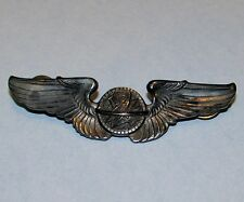 "Original WWII Sterling 3"" US Army Air Force Flight Navigator Wings VG Military"