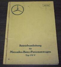 Betriebsanleitung Mercedes Typ 170 V W 136 Bedienungsanleitung 1937 in Deutsch!
