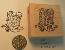 Cowboy boots, western rubber stamp P57