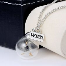DIY Handmade Dandelion Wishing Glass Cover Pendant Necklace Fashion Jewelry Gift