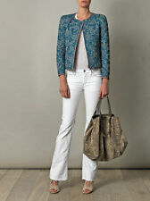 """ISABEL MARANT """"SUMAC"""" Reversible Quilted Jacket SZ 38 Teal Blue Floral & Check"""