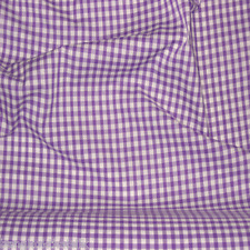"Mauve Purple & White 1/4"" CHECKERED BUFFALO GINGHAM COTTON BLEND FABRIC 45"" BTY"