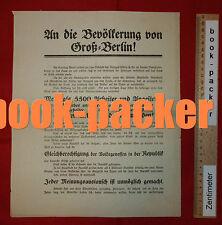 Flugblatt ULLSTEIN Spartakus-Aufstand 1919: AN DIE BEVÖLKERUNG VON GROSS-BERLIN