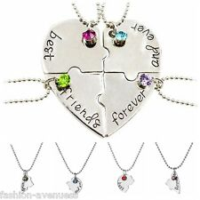 4pcs Best Friends Forever and Ever Hand Stamped Heart Piece Necklace Jewelry New