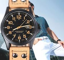 Luxury Vintage Men's Waterproof Leather Sport Military Analog Quartz Army Watch