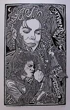 MICHAEL JACKSON  KING OF POP Hand Signed Posterography Letterpress Graffiti Art