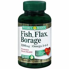 Nature's Bounty Fish, Flax, Borage, Omega 3-6-9, 1200 mg - 72 Softgels 101b