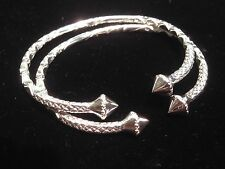 Pair Of Plain Pointy Head Handmade West Indian Sterling Silver Bangles