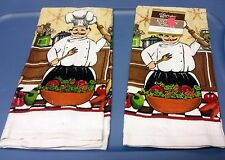 """Set of 2 same RARE FAT CHEF towels (15"""" x 25""""), making the salad by CV"""