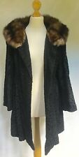 SWAKARA FUR COAT WITH GENUINE RUSSIAN SABLE FUR COLLAR SWING COAT - EX COND!