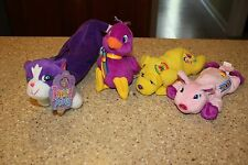 3 LISA FRANK PLUSH BEANIES OINKY PIG ~ BIRD ~ CANDY THE DOG & CAT PENCIL POUCH
