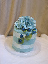 Light Blue Towel Cake