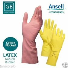 12 Pairs Ansell Econohands Plus Quality Yellow Latex Gloves - Size 7.5 - 8 MED