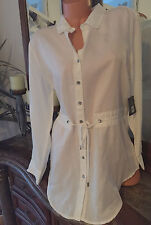 ZOZO Drapey Button Front White Denim Tunic Womens Size L NWT $168