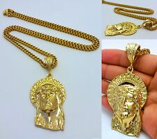 "14K GOLD FILLED 4mm 36"" STAINLESS STEEL FRANCO CHAIN W/ JESUS PENDANT NECKLACE"