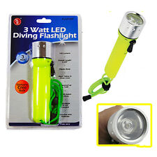 3 Watt Bright LED CREE Bulb Diving Waterproof Up To 100 Ft Flashlight- NIP