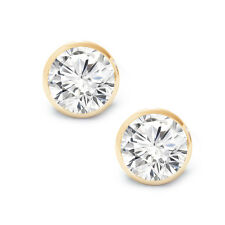 1.00 CT Screw Back Bezel Stud Earring Solid Yellow Gold, Bezel Stud Earring