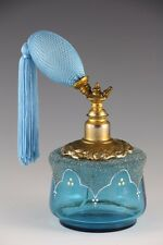 Aqua Blue with Frosted Detail Glass Perfume Bottle with Atomizer