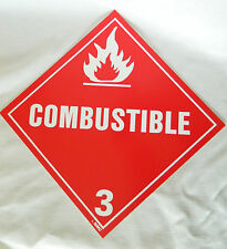 "DOT Combustible Truck Placard   10 3/4' X 10 3/4"" Rigid Plastic Safety Sign"