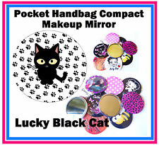 LUCKY BLACK CAT- HANDBAG / POCKET MAKE-UP COMPACT MIRROR - BRAND NEW - GIFT