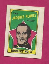 RARE 1971-72 OPC LEAFS JACQUES PLANTE  GOALIE  ENGLISH BOOKLET INSERT