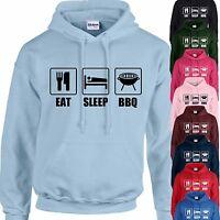 EAT, SLEEP, BBQ HOODIE ADULT/KIDS - PERSONALISED - TOP BARBECUE GIFT DAD UNCLE