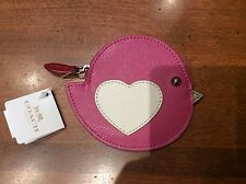 NWT Coach Pink Cross-grain Leather Love Bird Coin Purse/ Zip Wallet #63144