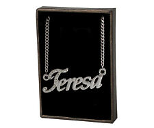"18K White Gold Plated Name Necklace ""Teresa"" Birthday Valentines Jewelry Gift"