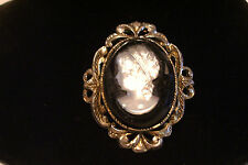 Vintage Cameo Brooch Pin / Pendant Costume Jewelry Mid Century Hollywood Regency