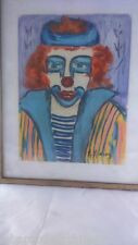 Peinture clown signée. Clown painting signed