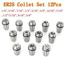 12pcs ER25 Chuck Collet 1/8 to 5/8 Inch Spring Collet Set For CNC Milling Lathe